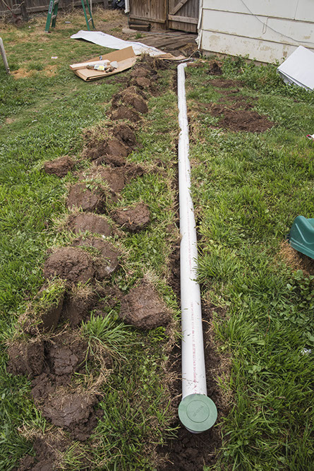 Installing A French Drain In Backyard goodnight gutters |french drains | rain gutter repair - 806-414-7980